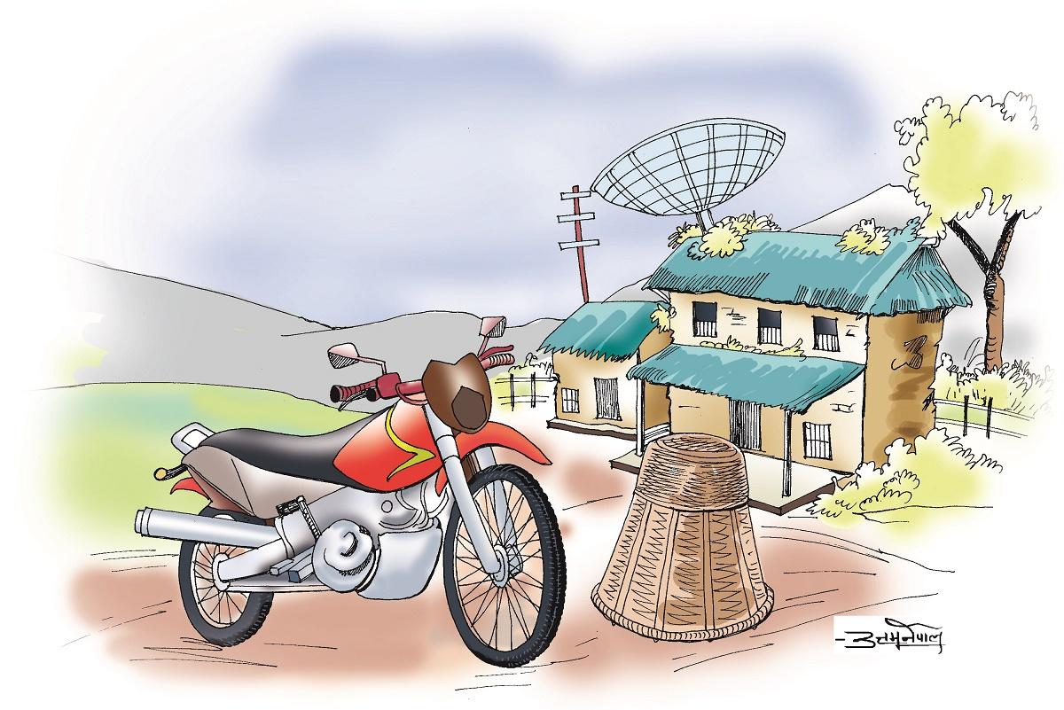 गोठमा गोरु छैन आँगनमा बाइक